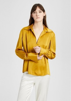 Theory Satin Wide-Collar Blouse