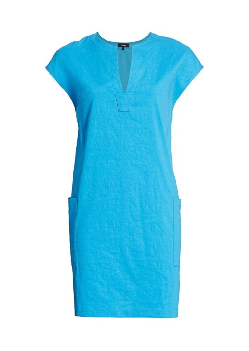 Theory Saturina Linen-Blend Shift Dress
