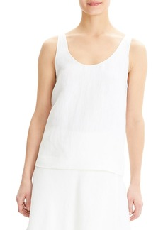 Theory Scoop-Neck Herring Linen Tank Top