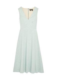 Theory Seamed Linen-Blend Midi Dress