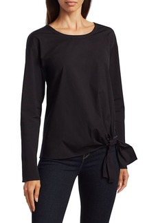 Theory Serah Stretch-Cotton Tie-Waist Top