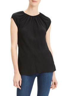 Theory Shirred Crewneck Silk Georgette Top