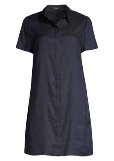 Theory Short Sleeve Linen-Blend Shirtdress