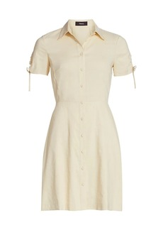 Theory Short-Sleeve Linen-Blend Shirtdress