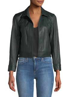 Theory Shrunken Open-Front Leather Jacket