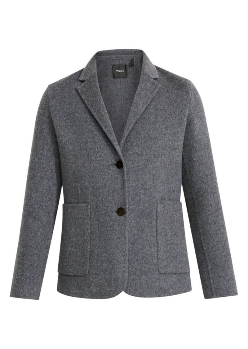Theory Double-Faced Shrunken Wool-Blend Blazer