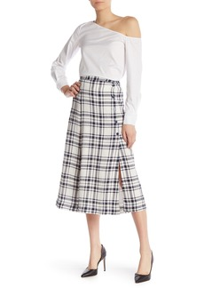 Theory Side Button Plaid Midi Skirt