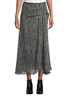 Theory Side-Drape Oval-Print Midi Skirt