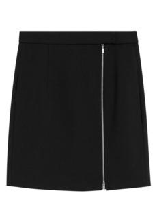 Theory Side Zip Mini Stretch Wool Skirt