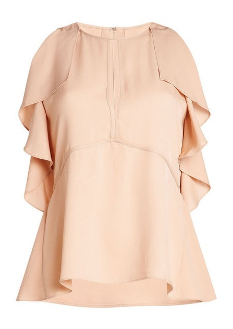 Theory Silk Blouse with Ruffled Sleeves