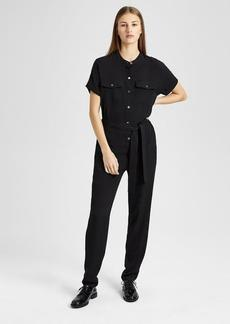 Theory Silk Cargo Shirt Jumpsuit