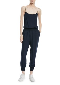 Theory Silk Combo Sleeveless Jumpsuit