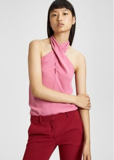 Theory Silk Cross-Front Halter Top