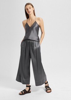 Theory Silk Satin Smocked Culotte