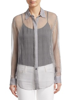 Theory Silk Sheer Button-Front Blouse