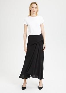 Theory Silk Side Draped Midi Skirt
