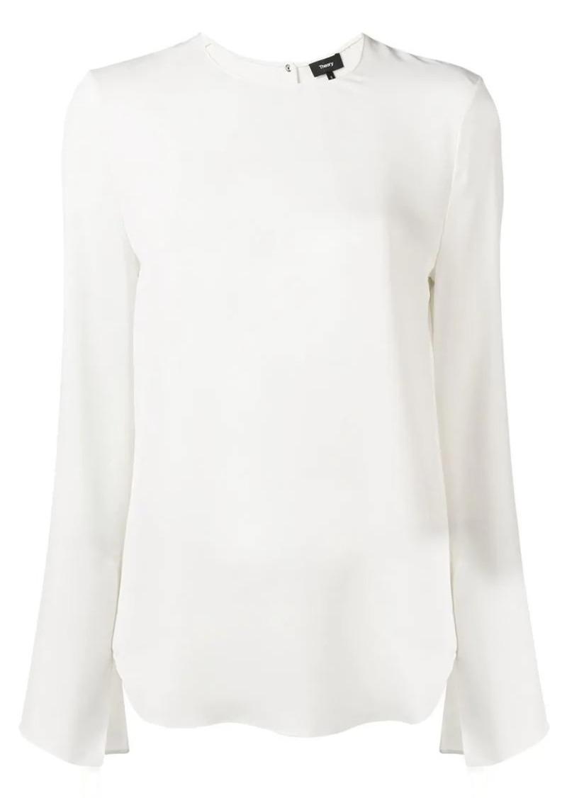 Theory silk split sleeve blouse