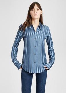 Theory Silk Stripe Slim Collar Button-Down