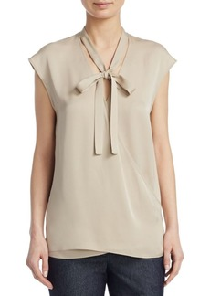 Theory Silk Tie Neck Blouse