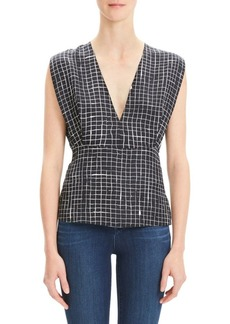 Theory Silk Twill Grid Kimono Pleated Top