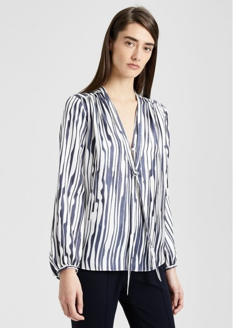 Theory Silk Twill Striped Blouse