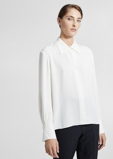 Theory Silk Wide-Collar Blouse