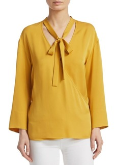 Theory Silk Wrap Blouse