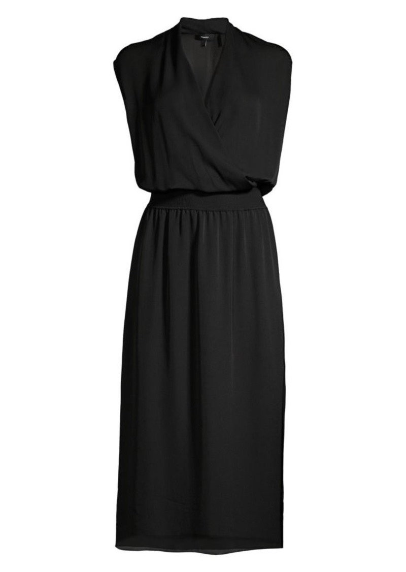 Theory Silk Wrapped Blouson Midi Dress