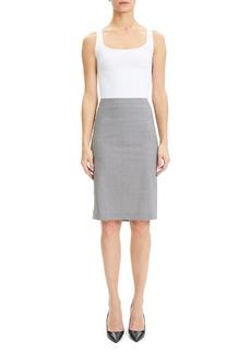 Theory Skinny Stretch Virgin Wool Blend Pencil Skirt