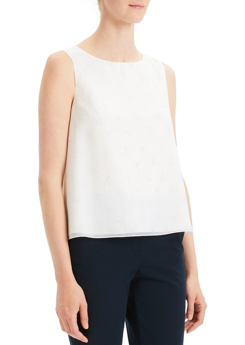 Theory Sleeveless A-Line Chintz Silk Top