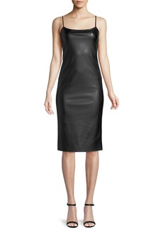 Theory Sleeveless Bedford Faux-Leather Skinny Slip Dress
