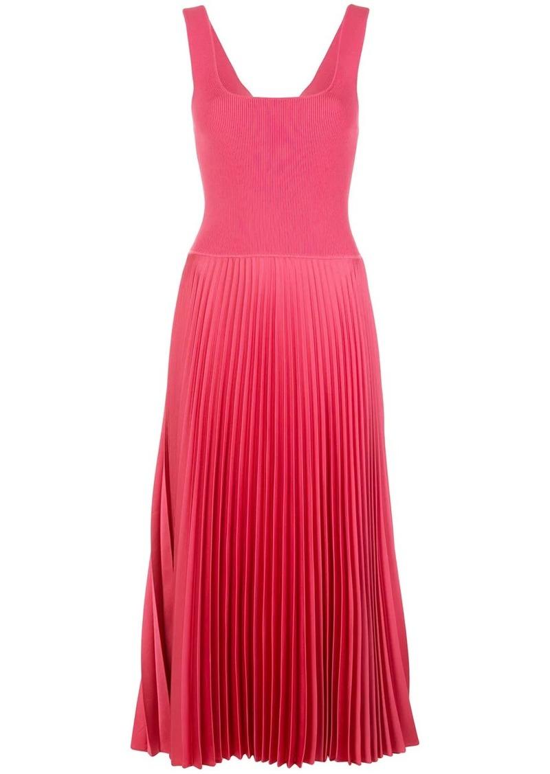 Theory sleeveless pleated midi dress