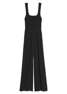 Theory Sleeveless Squareneck Ribbed Jumpsuit