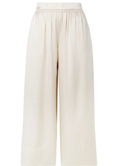 Theory Smocked Silk-satin Culottes