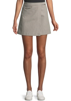 Theory Snap-Tab Fremont Plaid Wrap Mini Skirt