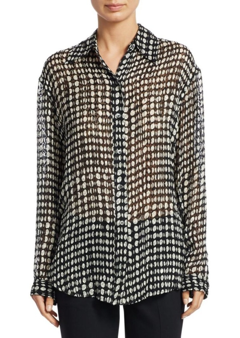 Theory Split Dot Weekender Blouse