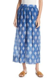 Theory Spot Ikat-Print Wide-Leg Culotte Pants