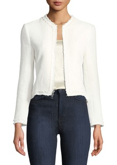 Theory Spring Boucle Zip-Front Flounce Jacket