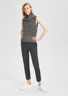 Theory Square-Print Wool Slim Crop Pant