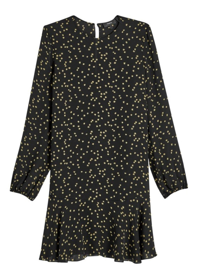 Theory Star Print Puff-Sleeve Silk Flounce Shift Dress
