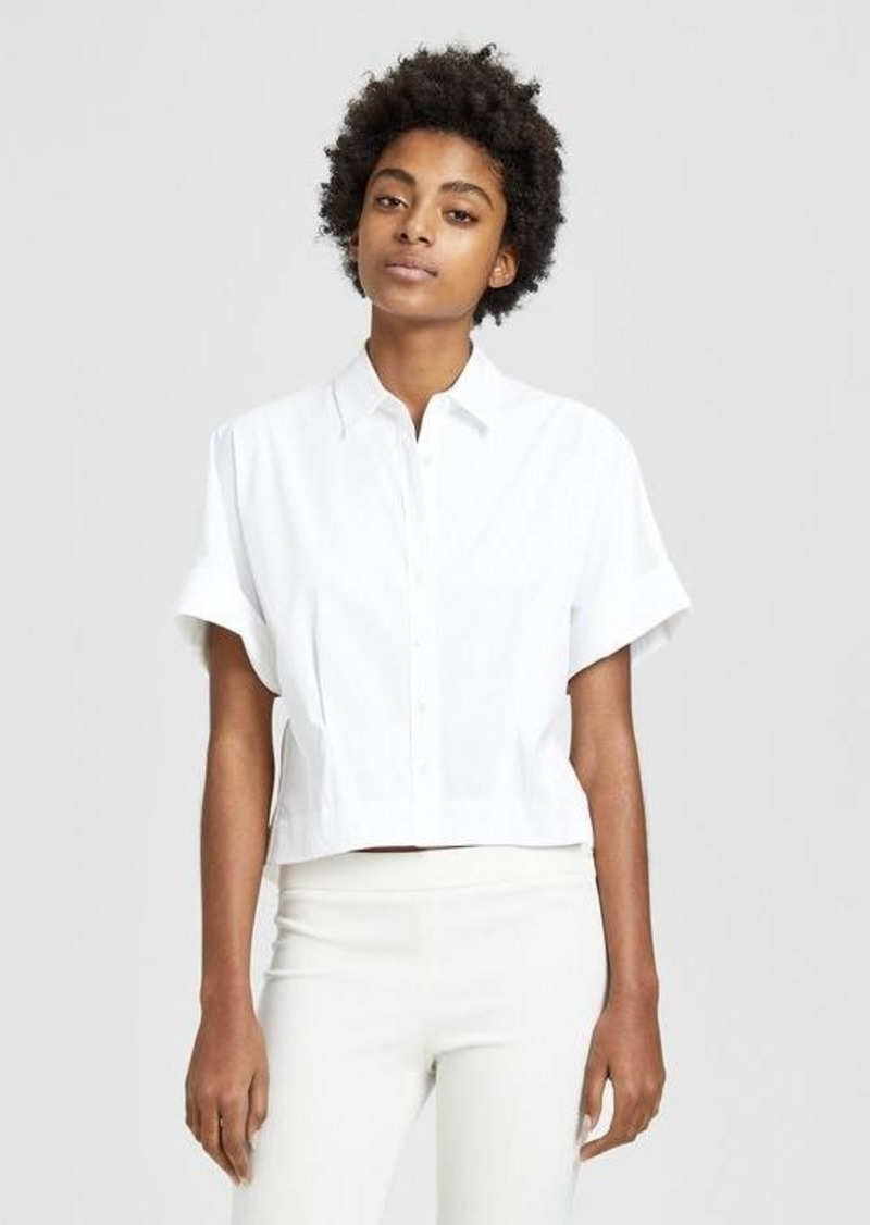 Theory Stretch Cotton Cropped Shirt