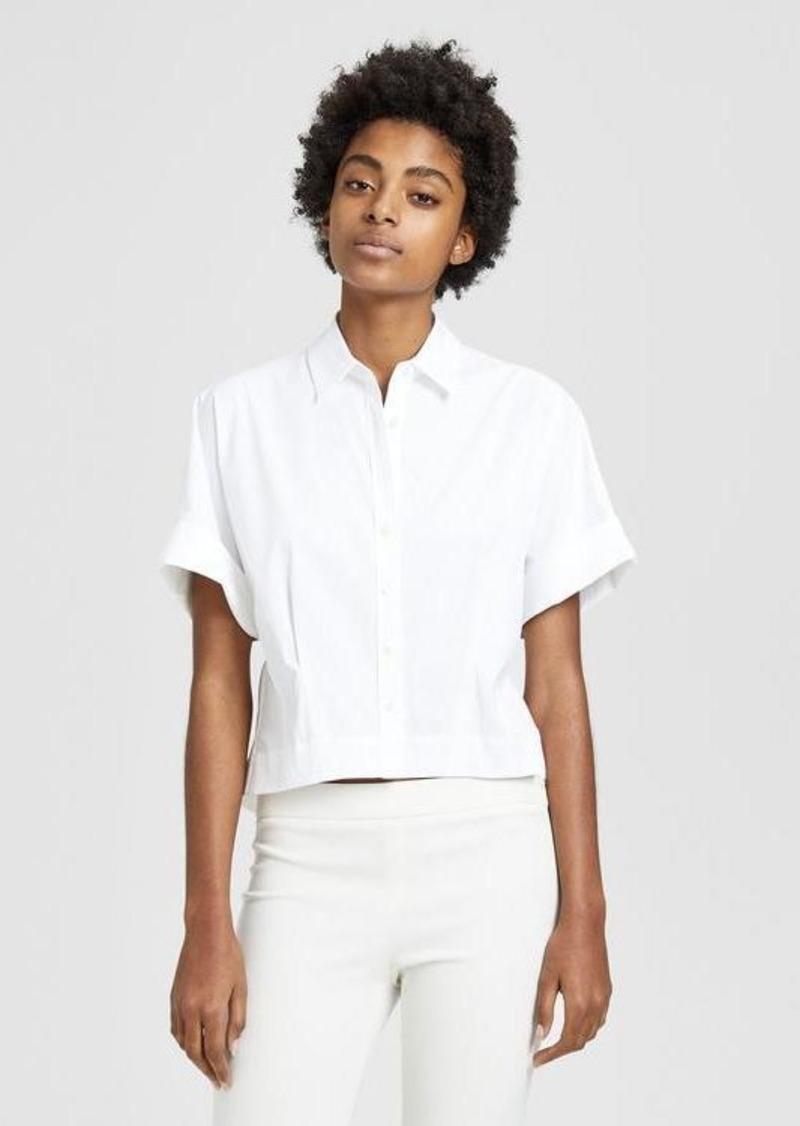 Theory Stretch Cotton Cropped Shirt