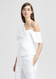 Theory Stretch Cotton Off-The-Shoulder Foldover Top