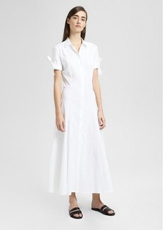 Theory Stretch Cotton Tie-Sleeve Shirt Dress