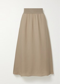 Theory Stretch Jersey-trimmed Silk-crepe Midi Skirt