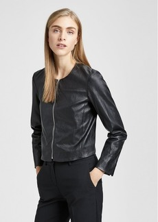 Theory Stretch Leather Fitted Jacket