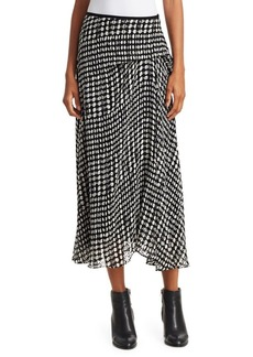Theory Stretch Silk Printed Side Drape Midi Skirt