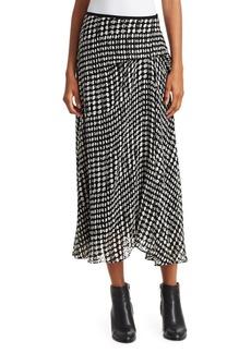 Theory Stretch Silk Printed Side Drape Midi Skirt