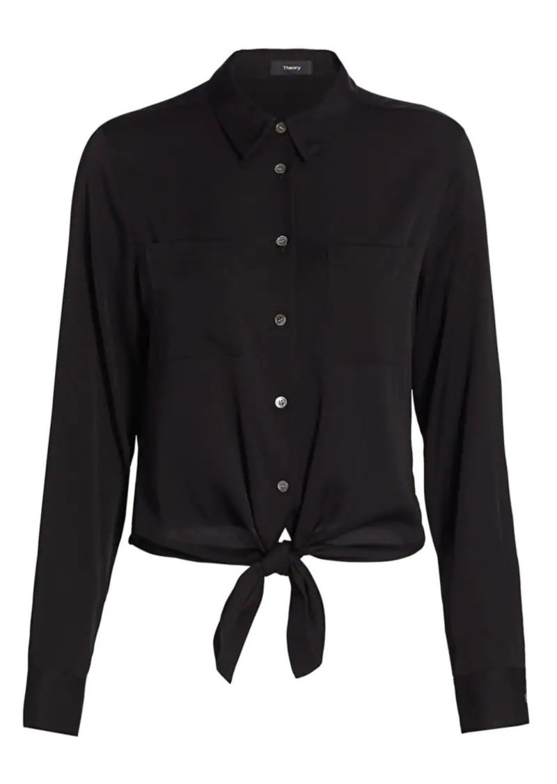 Theory Stretch-Silk Tie-Front Shirt