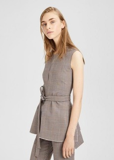 Theory Stretch Wool Belted Peplum Top